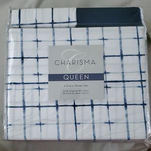 Charisma Queen 6 Piece White Blue Sheet Bed Set